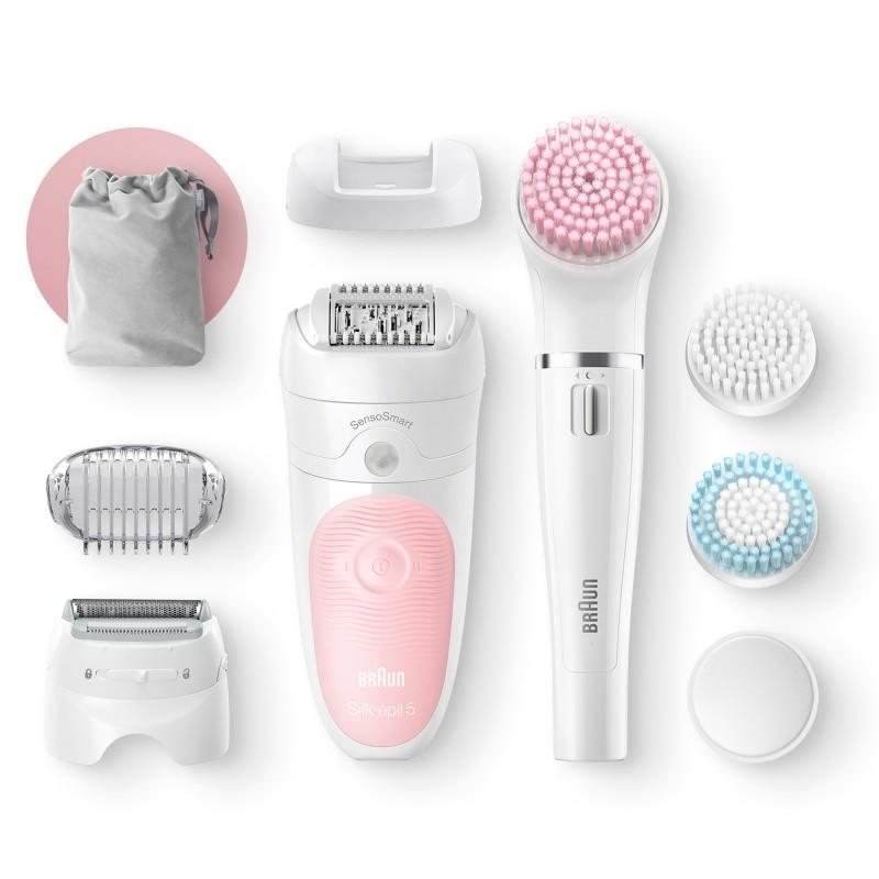 Epilator Braun Silk-epil Beauty Set 5 5895 Starter Kit 5-in-1, Tehnologie SensoSmart, Cap de ras, Set pentru curatare fata si corp, Alb/Roz